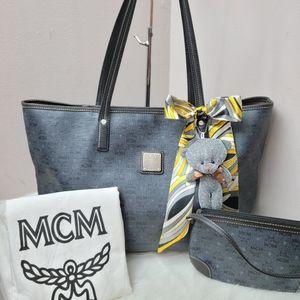 100% Authentic MCM coated canvas shopper tote set